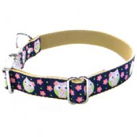 DOG COLLAR - CUTE NIGHT OWLS ON NAVY